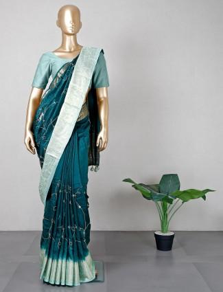 Bottle green silk saree for weddings