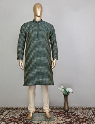 Bottle green thread work cotton kurta for festive wear