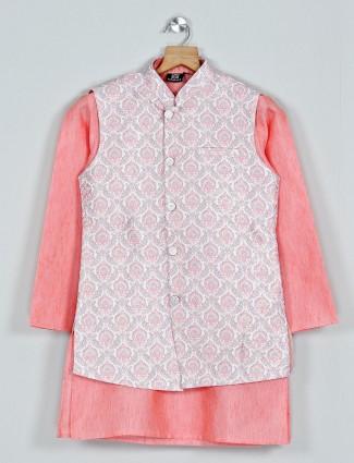 Bottle peach cotton waistcoat set