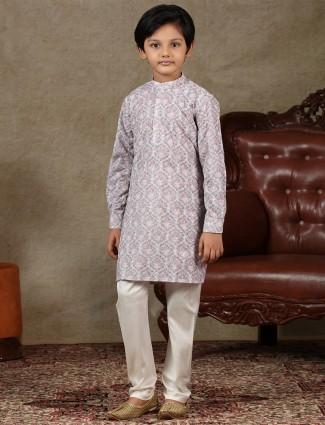 Boys cottton violet full sleeve kurta suit