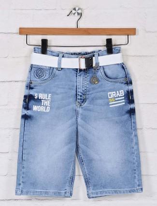 Boys ice blue denim shorts