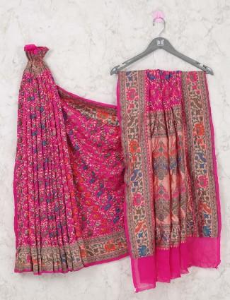 Bridal wear pink colored bandhej saree