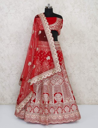 Bridal wear red velvet semi stitched lehenga choli