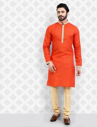 Bright orange cotton full sleeves pattern kurta suit