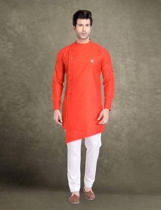 Bright orange festive cotton jacquard kurta suit