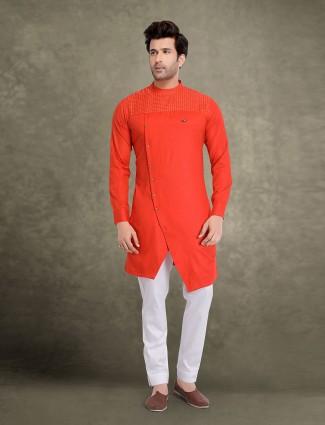 Bright orange solid mens cotton kurta suit