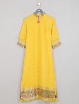 Bright yellow attractive cotton silk casual wear kurti