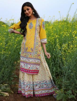 Bright yellow cotton festive wear printed punjabi palazzo suit
