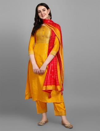 Bright yellow festive ceremonies pant set in silk