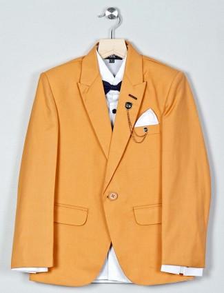 Brown boys tuxedo coat suit in terry rayon