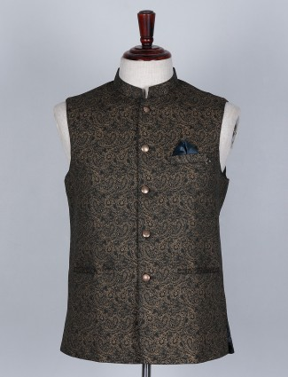 Brown colored silk waistcoat with self textured effect