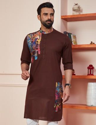 Brown colour cotton kurta for festive occasion