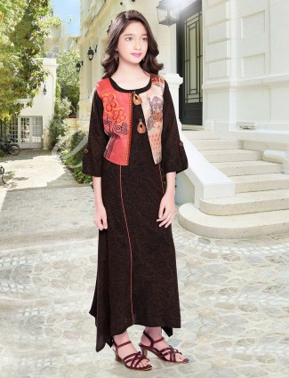 Brown cotton festive wear anarkali suit