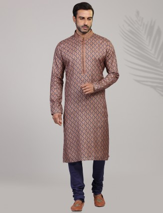 Brown cotton silk festive wear kurta suit