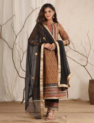 Brown designer cotton festive printed punjabi style pant Set