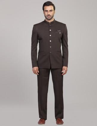 Brown hue terry rayon jodhpuri suit