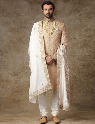Brown jamwar fabric sherwani for wedding occasions