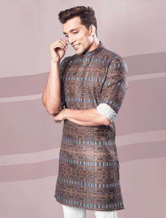 Brown printed cotton festive kurta