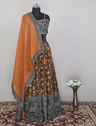 Brown printed lehenga choli in silk