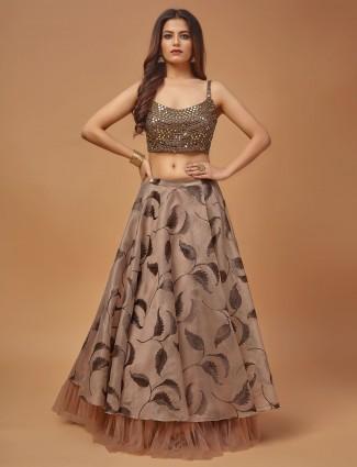 Brown printed raw silk wedding wear lehenga choli