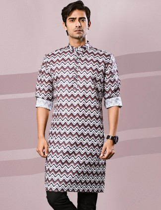 Brown printed side buttoned kurta
