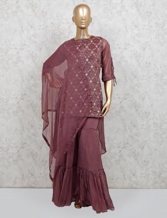 Brown raw silk party wear punjabi sharara suit