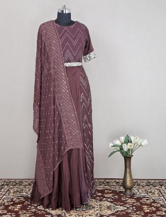 Brown shade wedding wear anarkali dress for women in georgette