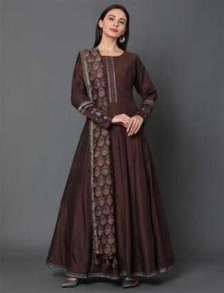 Brown silk anarkali floor-length salwar kameez for festive wear