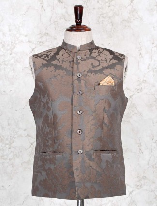 Brown textured cotton party wear waistcoat