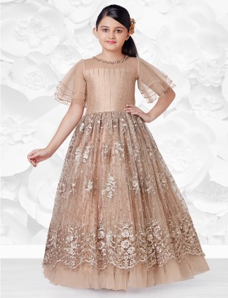 Brown wedding wear net gown for wedding sessions