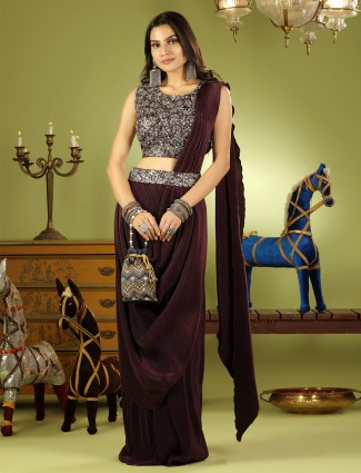 Brown wedding wear ready to wear saree with ready made blouse