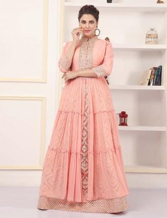 Bubbly pink hue wedding wear lehenga style suit