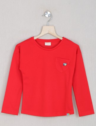 Carrot red cotton casaul events for top