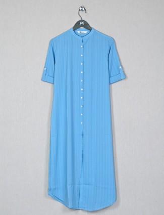 Casual sky blue hue cotton kurti for womens