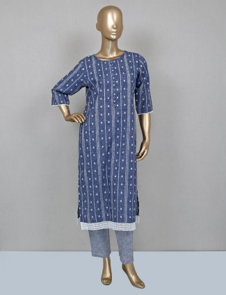 Casual blue cotton palazzo suit