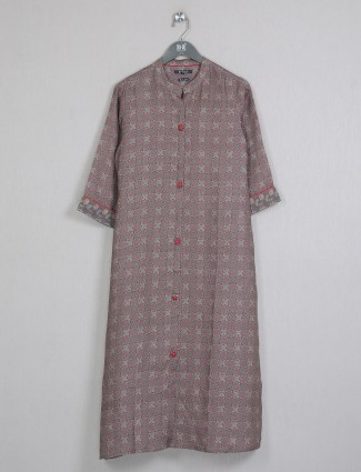Casual occasions brown printed cotton kurti for women