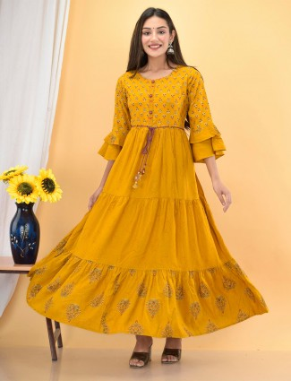 Casual occasions honey yellow printed cotton kurti for women