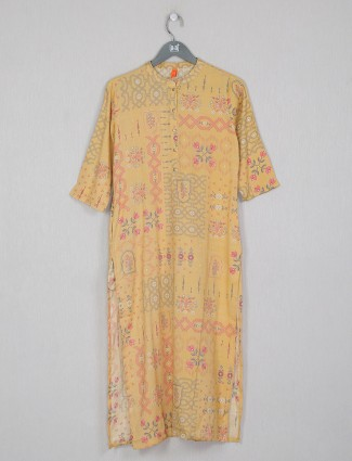Casual occasions printed yellow cotton kurti