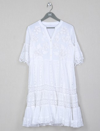 Casual occasions cotton white dress