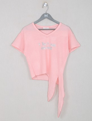 Casual peach cotton top for women