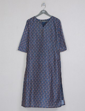 Casual wear attactive printed navy cotton kurti
