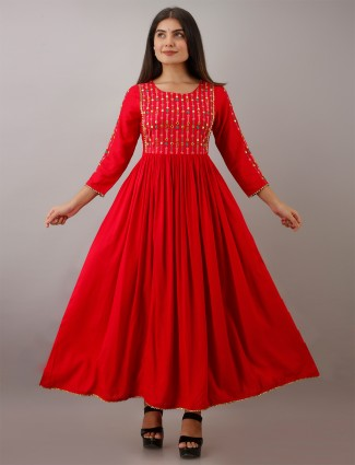 Casual wear candy red printed kurti in cotton