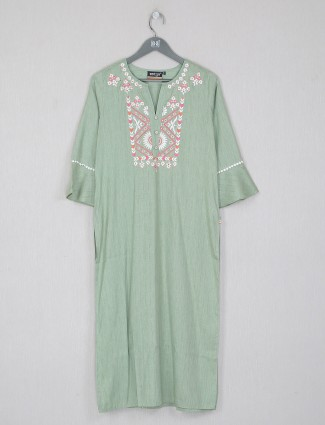 Casual wear cotton kurti in green