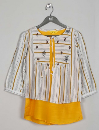 Casual wear cotton top in beautiful white and yellow