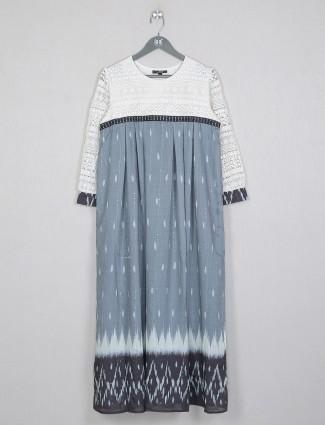 Casual wear grey cotton kurti for women