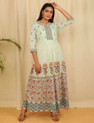 Casual wear hue kurti in printed beautiful mint green