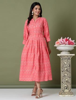 Casual wear hue kurti in printed beautiful pink