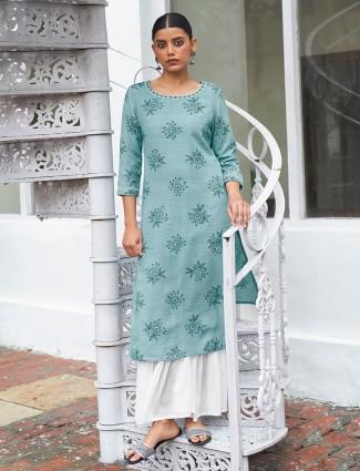 Casual wear hue kurti in printed beautiful blue