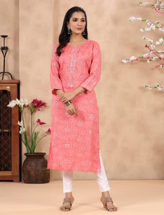 Casual wear hue kurti in printed in beautiful coral pink