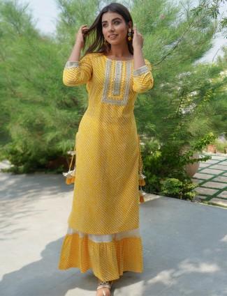 Casual wear hue kurti in stripe beautiful yellow